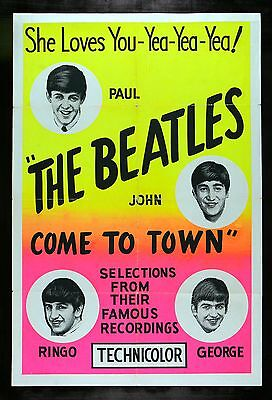 BEATLES COME TO TOWN *CineMasterpieces ROCK AND ROLL MUSIC ORIG MOVIE POSTER '63