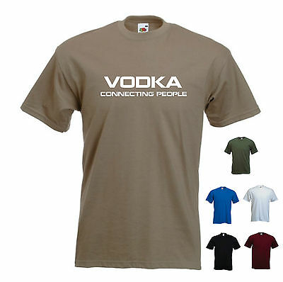 'Vodka, connecting people' - Funny mens T-shirt. S-XXL