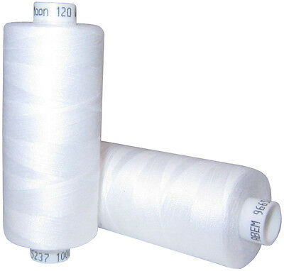 5 x White Moon Sewing Thread Cottons 120s *1000yards Each Spool*