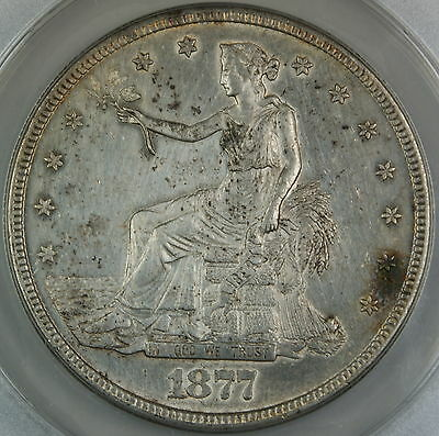 1877-S Silver Trade Dollar, ANACS AU-58 Details, Cleaned Coin
