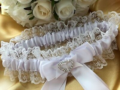 WHITE PLAIN WEDDING BRIDE GARTER SATIN LACE BOW HEART DIAMANTE throw away toss