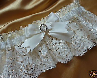 IVORY WEDDING BRIDAL BRIDE FRENCH GARTER SATIN AND LACE square or heart diamante