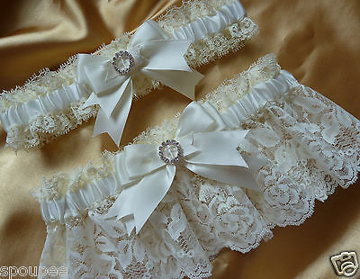 Wedding Garter Set Ivory French Satin Lace Bows Square Heart Crystals Cream Toss