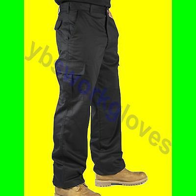 NEW Mens Cargo Work Trousers Black or Navy Size 28 to 52 Short  Reg or Long