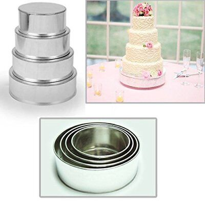 "4 Tier Heavy Duty Round Wedding Cake Tins 6"" 8"" 10"" 12"""