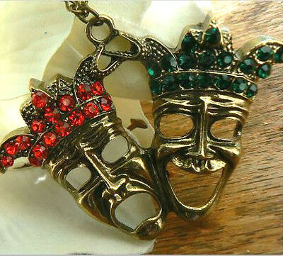 Comedy & Tragedy Masks Necklace Theatricl Arts Necklace Kitsch Gift for her Him