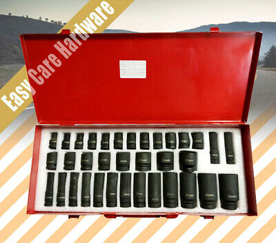 "35 pc pcs 1/2"" Drive Deep Impact Socket Set Metric Garage Tool 8-32mm"