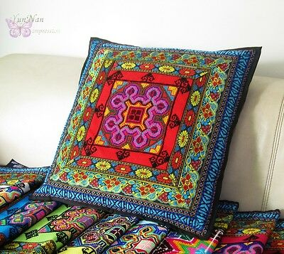 Chinese miao tribal cross embroidered cushion/pillow cover multi colors