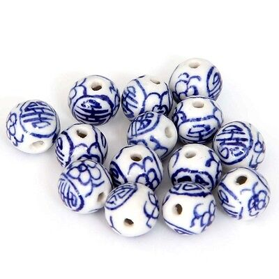 12Pcs Hand Painted Flower Ceramics Porcelain Beads Finding--10mm