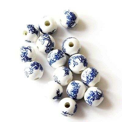 15Pcs Happy Lucky Chinese Zodiac Dragon Ceramics Porcelain Beads Finding--10mm