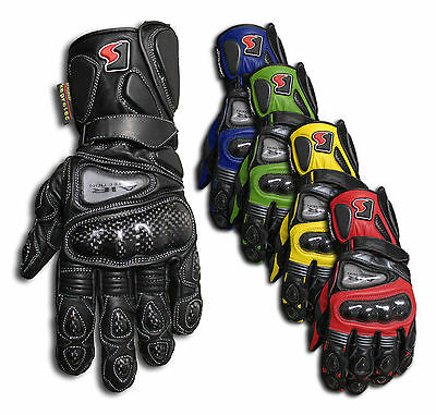 Motorcycle Gloves*Genuine Leather*Carbon Knuckle*Comfortable fit*for Road-riding