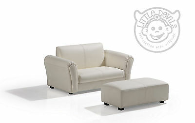 CREAM LAZYBONES KIDS TWIN SOFA Chair/Armchair/Sofa for Childrens in PU Leather