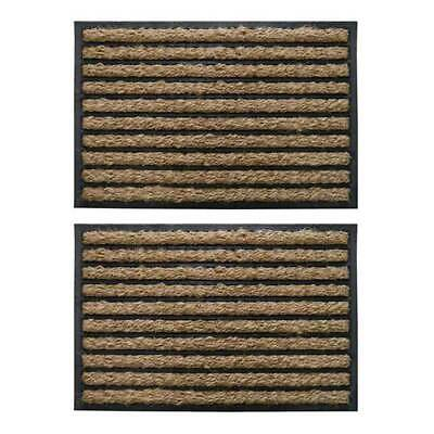 2 x Entrance Doormat Rubber Back Patterned Outdoor Coir Door Mat 60cm x 40cm