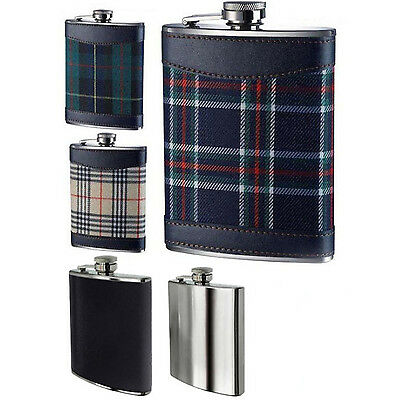 Amazing New Hip Flask 8oz Tartan Designs Brush Stainless Steel & Leather Effect