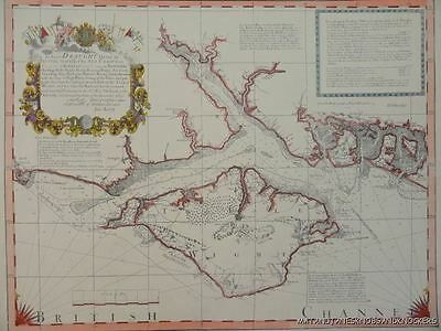 Old Copy Of Jos Avery 1721 Map Of The Isle Of Wight And Hampshire
