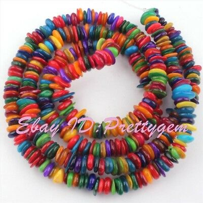 """2X6-3X8Mm Freeform Multicolor Shell Mop Gemstone Spacer Loose Beads Strand 34"""""""