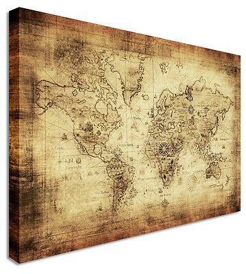 Large World Map Vintage Printed Canvas Wall Art Pictures