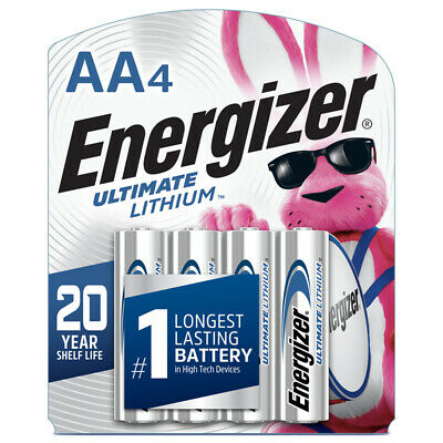 Energizer Ultimate Lithium AA 4 Pack Battery in Retail Packaging exp 12/2036