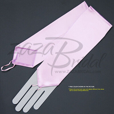 Stretch Satin Fingerless Gloves Below-The-Elbow - Various Colors