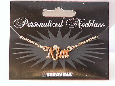 """18"""" Stravina Personalized Necklace Polished Gold Metal with Stone/Crystal"""