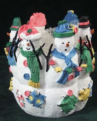 AVON - Snowy Folks - Candle Holder - Glass Insert - 1998 - with Box