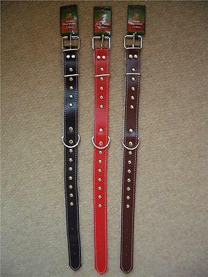 Medium & Large Pet Dog Collar in Red Black Brown Double Layered Leather