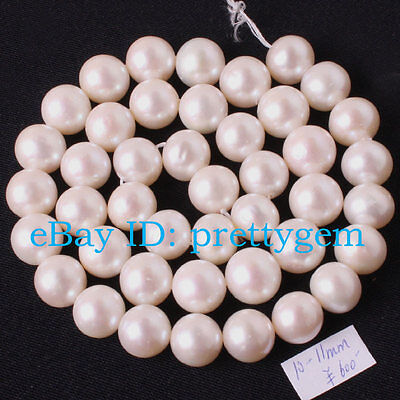 """10 - 11MM NEARLY ROUND WHITE NATURAL FRESHWATER PEARL BEAUTIFUL GIFT STRAND 15"""""""