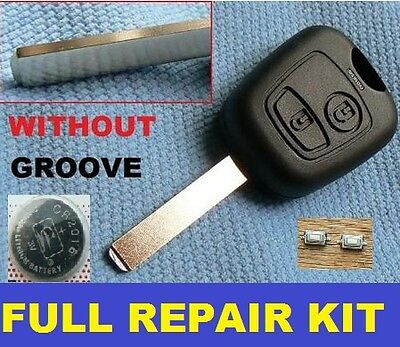 Peugeot 2 Button Remote Key Fob Case 107 207 307 206 306 406 Full Repair Kit Ng