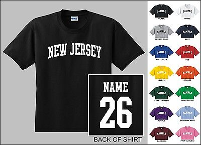 State Of New Jersey College Letter Custom Name & Number Personalized T-shirt