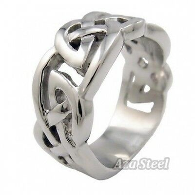 Men's Silver Celtic Knot Stainless Steel Ring US Size 9, 10, 11, 12