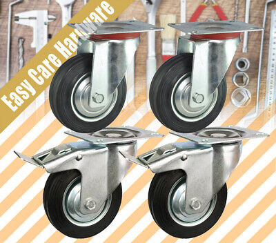 "4 PCS 3"" HEAVY DUTY 55kg loading caster castor wheel 75mm all Swivel 2 brake"