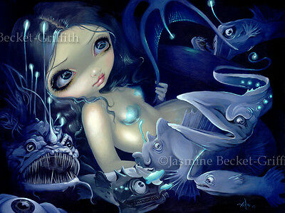 Jasmine Becket-Griffith art print SIGNED In the Abyss mermaid anglerfish gothic
