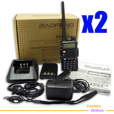 2pcs x UV-5R Dual Band DUAL freq. dispaly with FM radio + Earpiece for free
