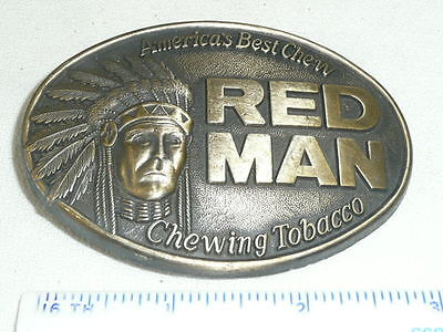 RED MAN CHEWING TOBACCO Pinkerton BELT BUCKLE VTG 1988
