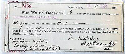 1883 Chicago St. Louis & New Orleans Railroad Company Stock Certificate