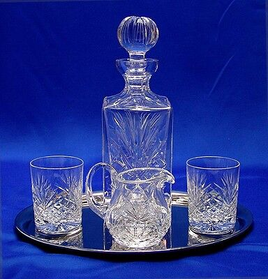 WHISKY TUMBLERS WATER JUG DECANTER & TRAY SET Fine Crystal Glass Gift Boxed NEW