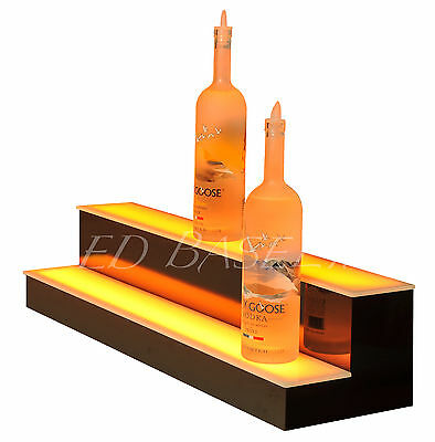 "32"" LED LIGHTED BAR SHELVES, Two Step, LED Liquor Bottle displ, Display Shelving"