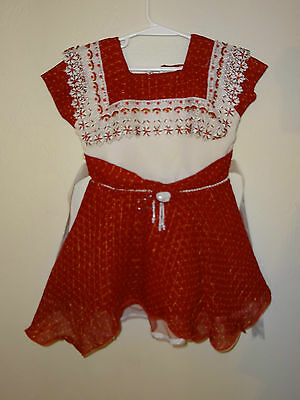 Girls Red Beads Sequins Sizzler Lace Rose Dress Fancy Zips Up Ribbon Bow Nice @@