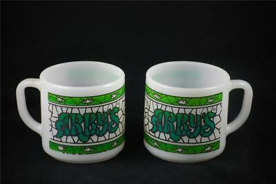Vintage Federal Glass Advertising ARBYS White Milk Stained Glass Cup Mug Handle