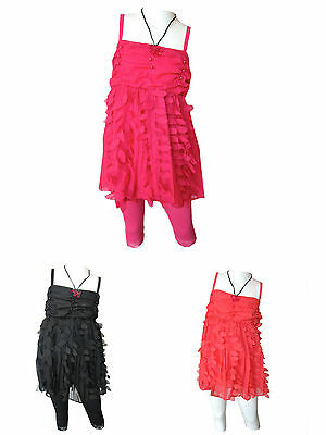 Girls New Frilly Strap Top And Lace Legging Set With Necklace BNWT Ages 2Y-10Y