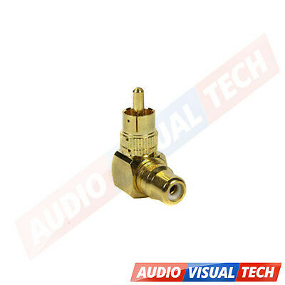 RCA Phono Right Angled 90 Degree Plug Socket Cable Adaptor Composite Component
