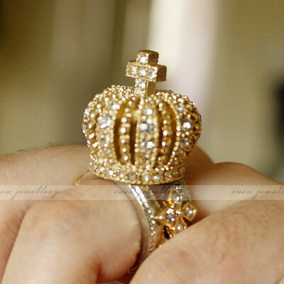Royal Crown Cross King Queen 3D Crystal Gold Silver Tone Chunky Bling SIZE 6