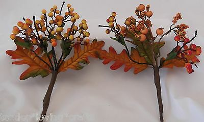 Lot Of 4 Fall/ Thanksgiving Orange Or Yellow  Berry Pick Decoration