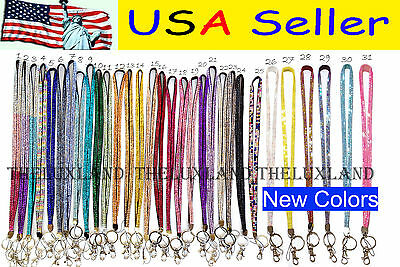 New Rhinestone Bling Crystal Custom Lanyard ID Badge Cell Phone and Key Holder