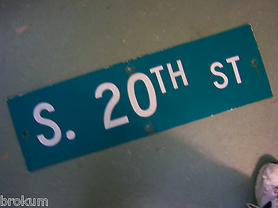 Vintage ORIGINAL S. 20TH ST STREET SIGN