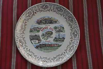 KANSAS CITY, MISSOURI COLLECTOR PLATE NIFCO USA 9 INCHES IN DIAMETER-GOLD TRIM