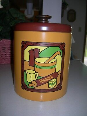 Collectible Bisqiuck Cookie Tin / Canister by  Ransburg 1973