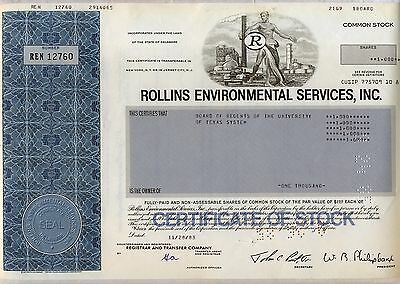 Rollins Environmental Services Inc. Stock Certificate