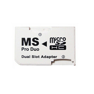 Dual slot Micro SD SDHC TF to MS Pro Duo Adapter Converter for PSP 003