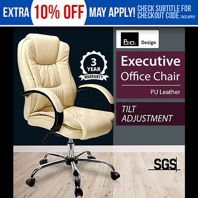 New Bio Executive Premium PU Faux Leather Office Computer Chair Beige